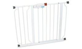 White Doorway Walk Thru Gate Fits Spaces between 29 to 39 Wide Adjustabl... - $53.11