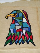 Vintage Eagle Embroidery Finished Patchwork Colorful Bright 18162 - $16.47