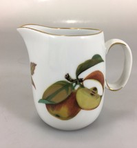 "Royal Worcester Evesham Gold Porcelain Creamer 3 1/2"" Apples Berries - $20.83"