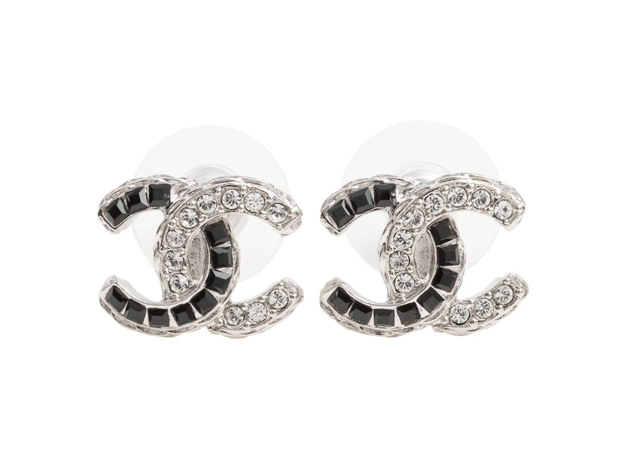 AUTHENTIC CHANEL 2 TONE SILVER BLACK GOLD CRYSTAL CC STUD EARRINGS