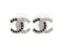 AUTHENTIC CHANEL 2 TONE SILVER BLACK GOLD CRYSTAL CC STUD EARRINGS  - $419.99