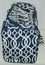 NGIL BIQ423NAVY Geometric Vine Print Canvas Duffle Bag Colors Navy and White image 3