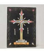 Antique Folk Art Crucifix Framed Handmade Needlework on Velvet Eastern E... - $150.00