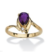 WOMENS 18K GOLD PLATED PEAR SHAPED AMETHYST RING SIZE 5,6,7,8,9,10 - $54.14