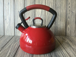 KitchenAid Red Porcelain Enameled  2.25 Quart Whistling Tea Kettle/Pot - $30.39
