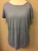 Talbots Ladies XL Knit Top Short Sleeve Round Neckline Blue D25 - $11.88