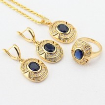 WPAITKYS Blue Stones White CZ Gold Color Jewelry Sets For Women Drop Ear... - $29.13