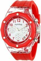 Rumba Time Hombre Mercer Grande Apple 45MM Claro Rojo Acrílico Blanco Reloj Nib