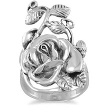 Sterling Silver .925 Oxidized Metal Rose Ring - $44.99