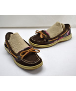 Sperry Top-Sider Brown Suede Leather Pink Purple Plaid Boat Shoes-Women'... - $28.45