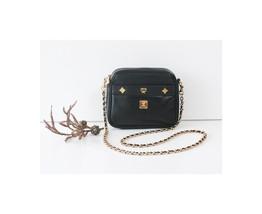 Authentic MCM Leather Black Chain Shoulder Cross Vintage Handbag - $320.00