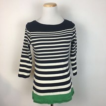 Talbots Women's Navy Blue Striped Stretch Fit Scoopneck Shirt Size Small... - $13.85
