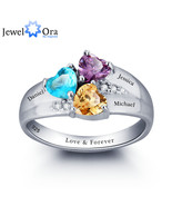 Mothers Rings Personalized Engrave Name Heart Stone Jewelry Sterling Sil... - $64.22