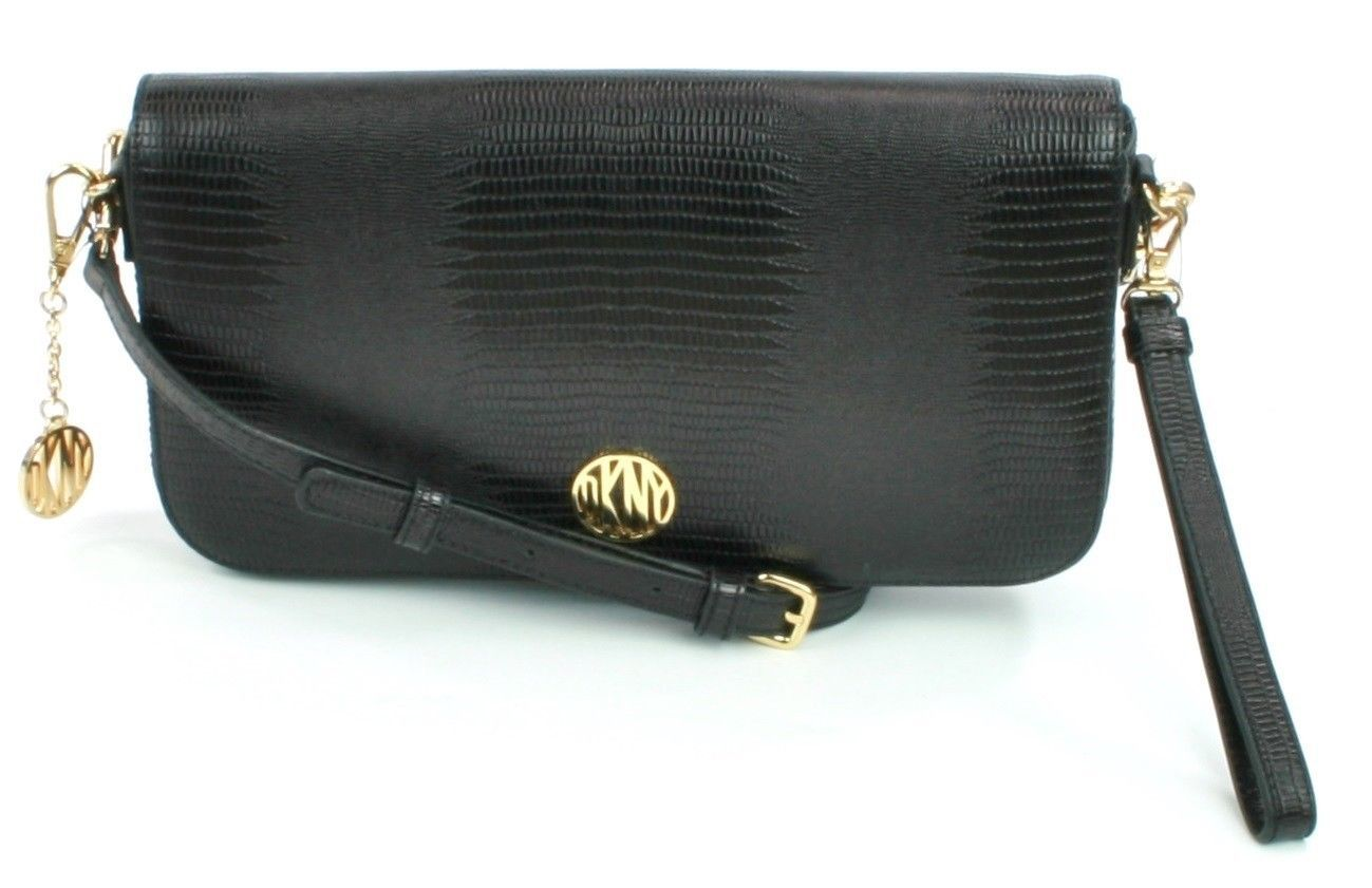 DKNY Donna Karan Black Leather Lizard Embossed Shoulder Bag Clutch Handbag
