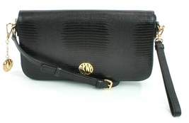 DKNY Donna Karan Black Leather Lizard Embossed Shoulder Bag Clutch Handbag - $201.41