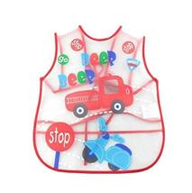 PANDA SUPERSTORE Creative Red Car Pattern Children Smocks Waterproof Aprons Kitc