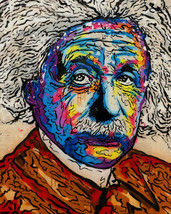 "Alec Monopoly Oil Painting on Canvas graffiti art Albert Einstein 28x36"" - $21.77+"