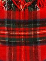PENDLETON Red Plaid 100% Virgin Wool Blanket Throw Fringe Original Case ... - $129.00