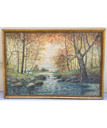 Rahael Senseman Water Color Painting Autumn Stream Colorful Landscape Be... - $755.99
