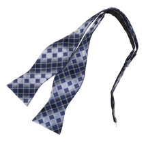 DBA7C16C Grey Blue Checkers Bow Tie Microfiber Inspirational For Dress H... - $12.11