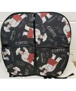 """SET OF 4 CUSHION CHAIR PADS 15""""x15"""", FAT CHEF W/COFFEE ON BLACK IN RED A... - £18.80 GBP"""