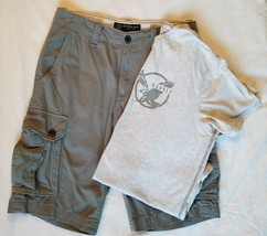 American Eagle Classic Cargo Shorts Gray Size 31 Short Sleeve T Shirt XL... - $574,97 MXN