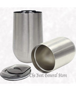 2pc Set 16oz Stainless Steel Stemless Wine Glass with Lid Drink Tumbler ... - $19.99