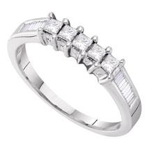 14k White Gold 5-stone Princess Diamond Wedding Anniversary Bridal Ring 1/2 Ctw - $799.00