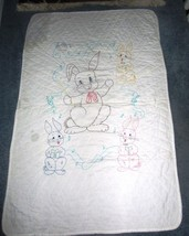 VINTAGE HAND QUILTED BABY QUILT - EMBROIDERED BUNNIES - $47.45