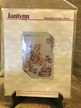 JANILYNN COUNTED CROSS STITCH KIT #12596 TEDDY BEAR WITH BASKET OF APPLES - $12.99