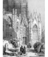 GERMANY Worms Cathedral Side Portal  - SUPERB 1843 Lithograph  Print - $39.60