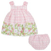 Mayoral Baby Girls 3M-24M Pink Bow Shoulder Check Plaid Border Print Dress image 2