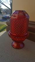 VTG VIKING RUBY REDGLASS FAIRY LAMP DIAMOND POINT CANDLE HOLDER - Origin... - $27.99
