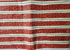 "Flannel Back Vinyl Tablecloth 52"" X 104"" (8-10 Ppl), Red & White Stripes By Ap - $17.81"