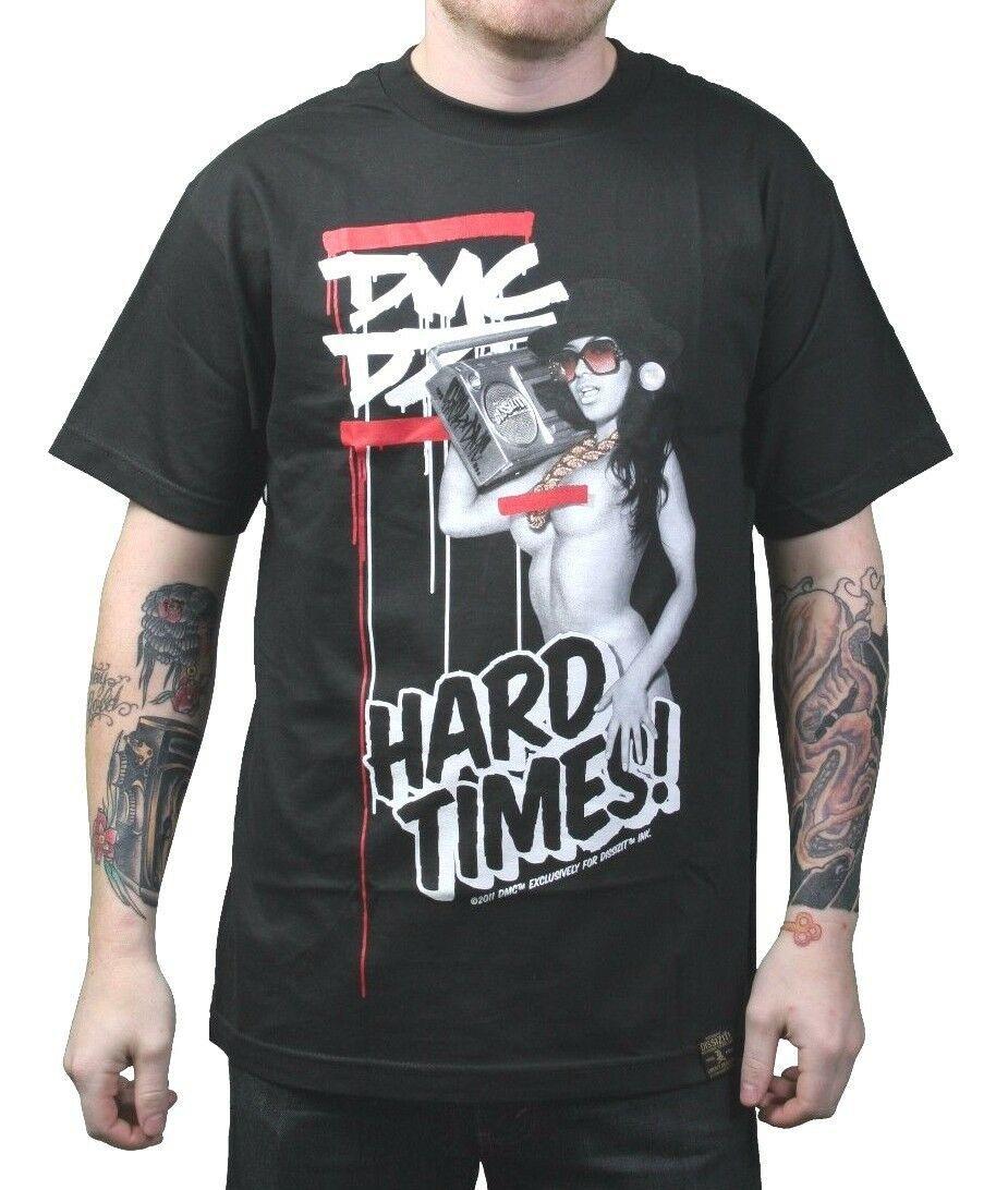 Dissizit! x DMC Mens Black Hard Times Official Run DMC Collaboration T-Shirt NWT