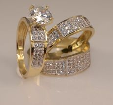 Womens Diamond Engagement Ring And His Her Wedding Band Trio Set 925 Real Silver - $158.99