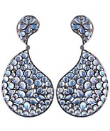 925 Sterling Silver 0.63ct Diamond Moonstone Dangle Earrings Handcrafted... - $341.74