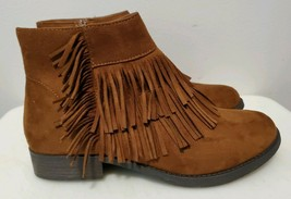 Soda Brown Vegan Faux Suede Moccasin Ankle Boots with Fringe For Women, ... - $18.70