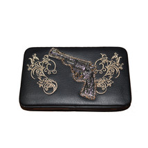 Texas West Rhinestone Pistol Embroidery Leather Clip Women's Wallet in 6... - $11.99