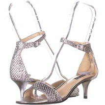 Nine West Leisa7 Ankle Strap Sandals 456, Silver Multi Fabric, 6 US - $29.75