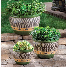 Ceramic Planters Trio with Drain Hole Available in 2 Colors - $69.95