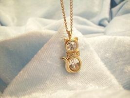 CZ Kitty Cat Pendant Cubic Zirconia Necklace Gold Plated Figural Sparkle Signed image 8