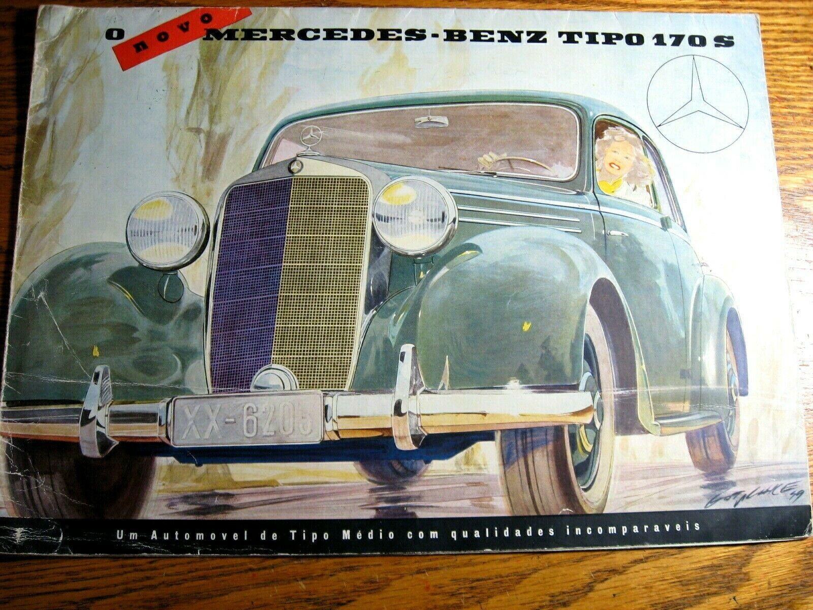 1949 1950 1951 Mercedes-Benz Type 170 S Color Brochure, Original, Portuguese  - $80.09