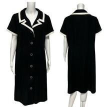Vintage Femmes Robe Union Fabriqué Ilgwu Boutons Avant Manche Courte Noi... - $30.19