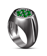 Round Cut Green Sapphire Engagement Band Men's Ring Black Gold Plated 92... - $106.50