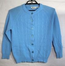 Vintage Kmart Pullover Acryl Zopfmuster Knopf Vorne Hergestellt in Korea... - $25.22