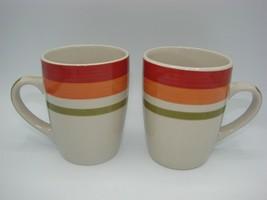Royal Norfolk Stoneware RNF93 Multi Band Set Of 2 Coffee Mugs 12 Oz - $13.51