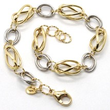 BRACELET YELLOW GOLD WHITE 18K 750, OVALS TWISTED, ALTERNATING AND PROCE... - $563.72