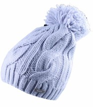 Bench Light Blue Cable Knit Lavendah B Bobble Top Pom Beanie BMWA0367 Wi... - $19.79