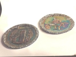 Set 1970 Fenton Carnival Plates #1 Christmas Iowa Church, Jamestown Glas... - $30.30